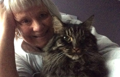 Cyndi and her rescue cat Smoky