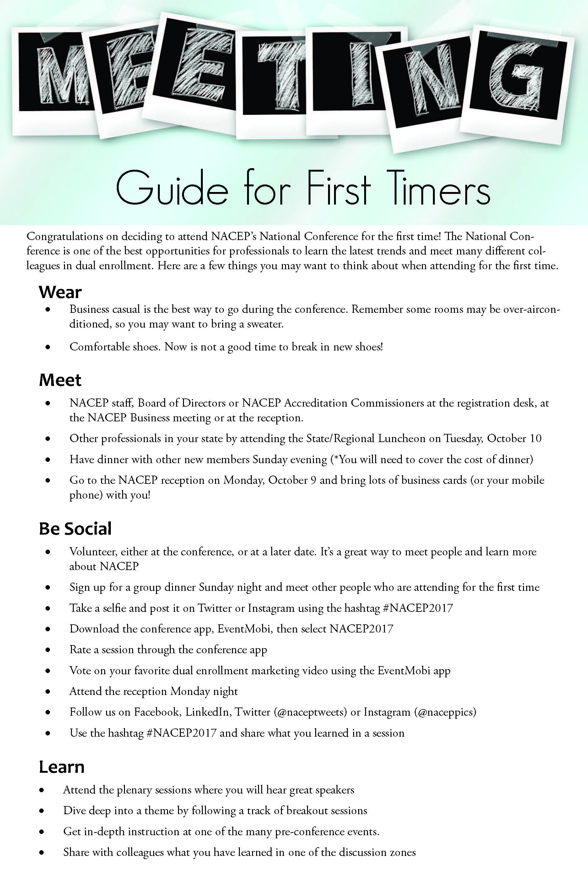 First Timer Guide